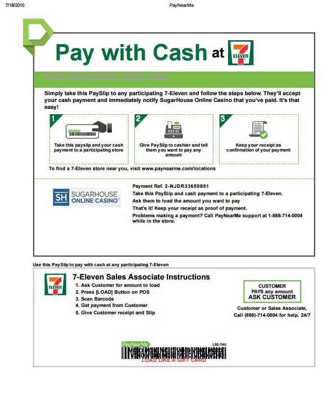 how does the pay with cash deposit method work sugarhouse online